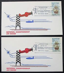 National-Championship-Air-Races-Set-of-2-US-Covers-Roanoke-USA-Letters-Y-186