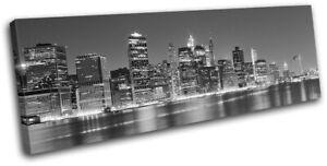 New-York-NYC-Lower-Manhattan-Night-City-SINGLE-CANVAS-WALL-ART-Picture-Print
