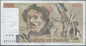 100-FRANCS-DELACROIX-1989-K-147-Billet-de-banque-francais-TTB