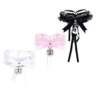 Adjustable Lolita Bell Choker Lace Ribbon Bow Collar Gothic Cosplay Necklace