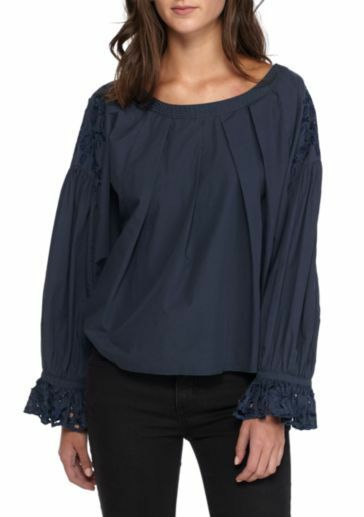 NWT Free People Wishing Well Blouse Graphite Größe M