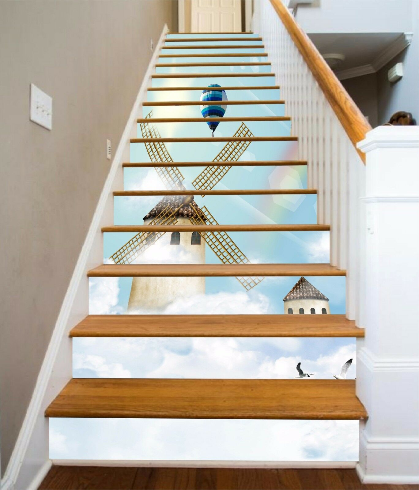 3D Sky windmill 45 Stair Risers Decoration Photo Mural Vinyl Decal Wallpaper UK