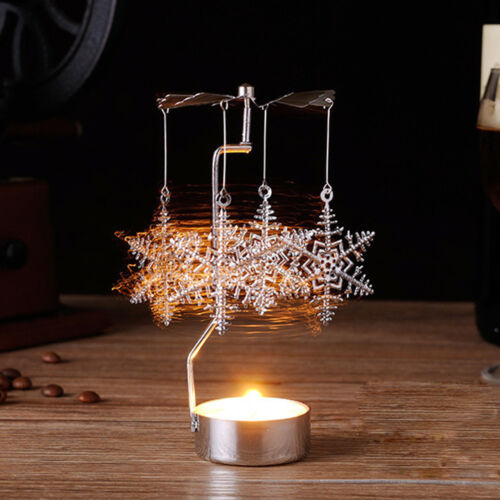 Hot Spinning Rotary Metal Carousel Tea Light Candle Holder Stand Light Xmas Gift