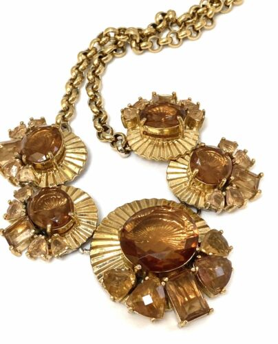 Rhinestone Gold Dangle Earrings Vintage Monet Gold Tone Dangle Necklace with Matching Earrings Lightest Amber Rhinestones Signed Monet.