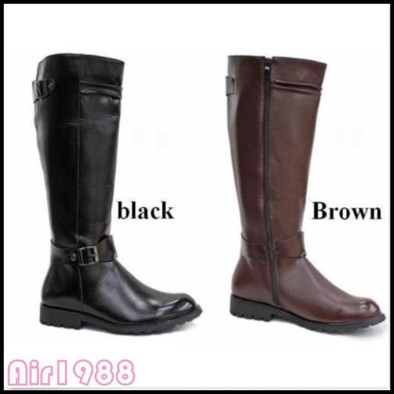 Men Knee-High Boots Riding Horse British Style Round Toe Leather Fashion New Hot