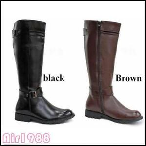 9b8d8c04eb3 Image is loading Riding-Boots-Mens-Military-Combat-Leather-Knee-High-