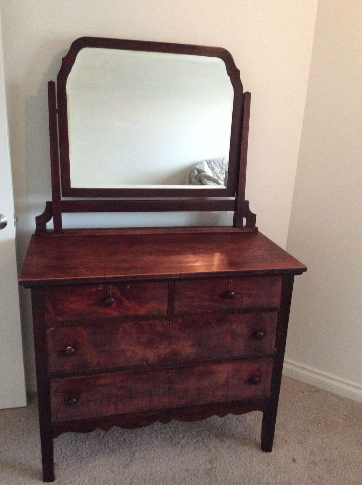 Antique dresser attached mirror vintage wood chest drawers