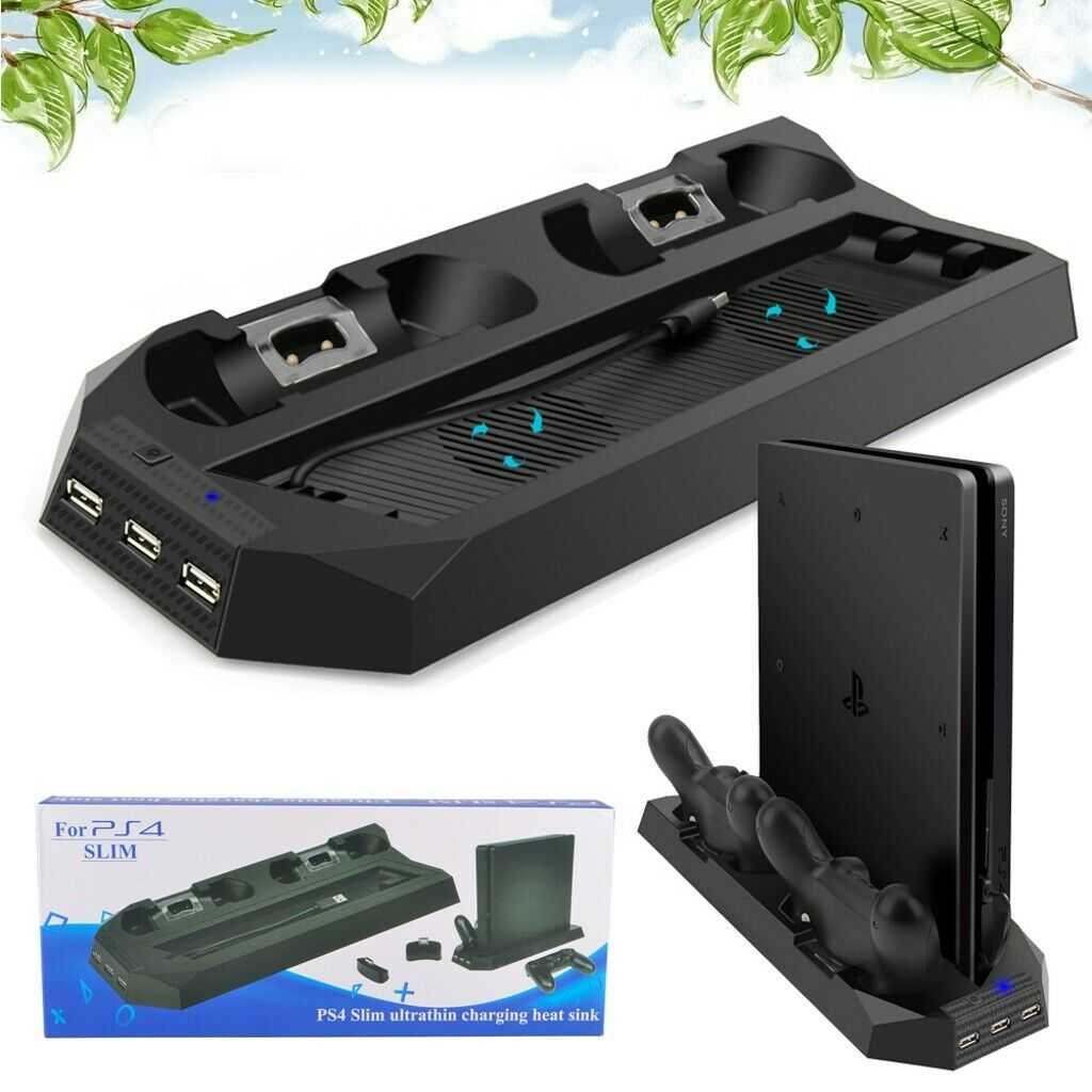 3 IN 1 For PS4 Slim Controller Vertical Stand +Cooling Fan Charging Dock Station