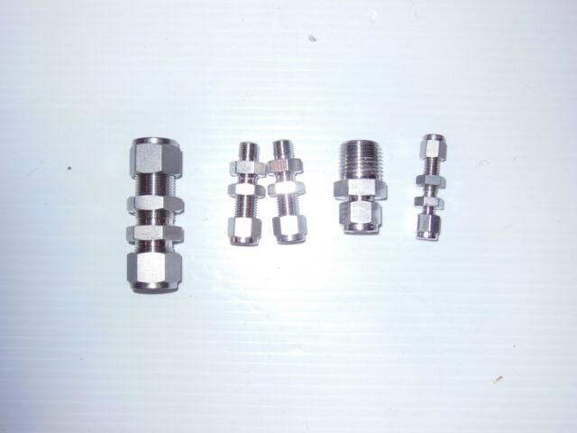 Mixed Lot of 5: Swagelok Bulkhead Fittings and Tube Fitting 316 Stainless  Steel