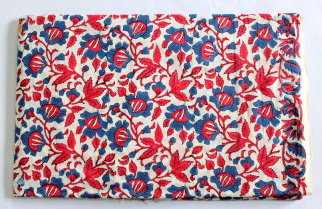 Indian Floral Hand Block Print 100% Cotton Fabric Hand made Jaipuri Fabric
