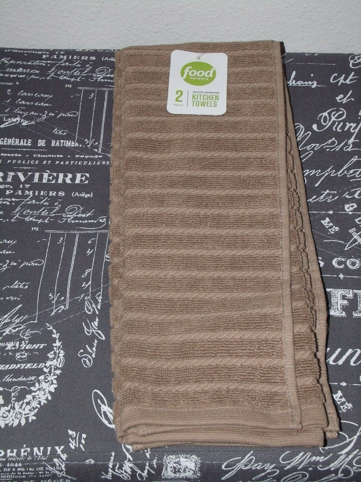 Food Network 2 Pk Sculpted Antimicrobial Kitchen Towels Khaki For Sale Online Ebay
