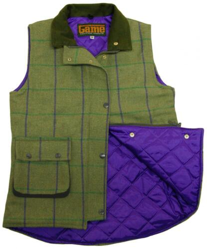 Womens Game Abby Tweed Gilet Quilted Bodywarmer Purple