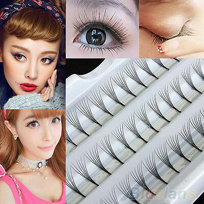 Women Vogue Makeup 60 Individual Black False Eyelash Cluster Extension Tray BE8A