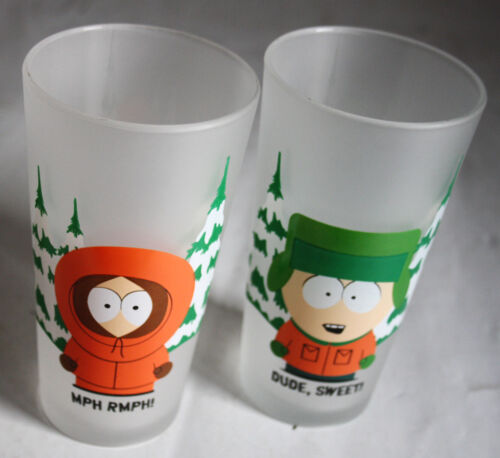"""2X VERY RARE 2000 SOUTH PARK DRINKING GLASS KYLE KENNY 13cm//5/"""" HIGH NEW !"""