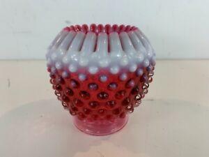 Vintage-Fenton-French-Cranberry-Opalescent-Hobnail-Glass-Globe-Vase