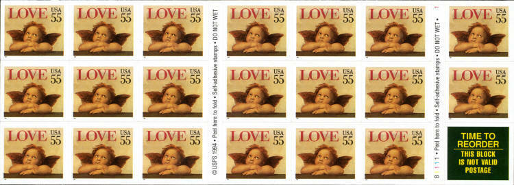 1995 55c Love Cherub, self-adhesive, Booklet of 20 Scot