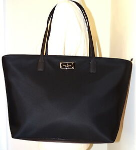 fa8dc894a60ec Image is loading Kate-spade-Black-Avenue-Margareta-Black-Large-Nylon-