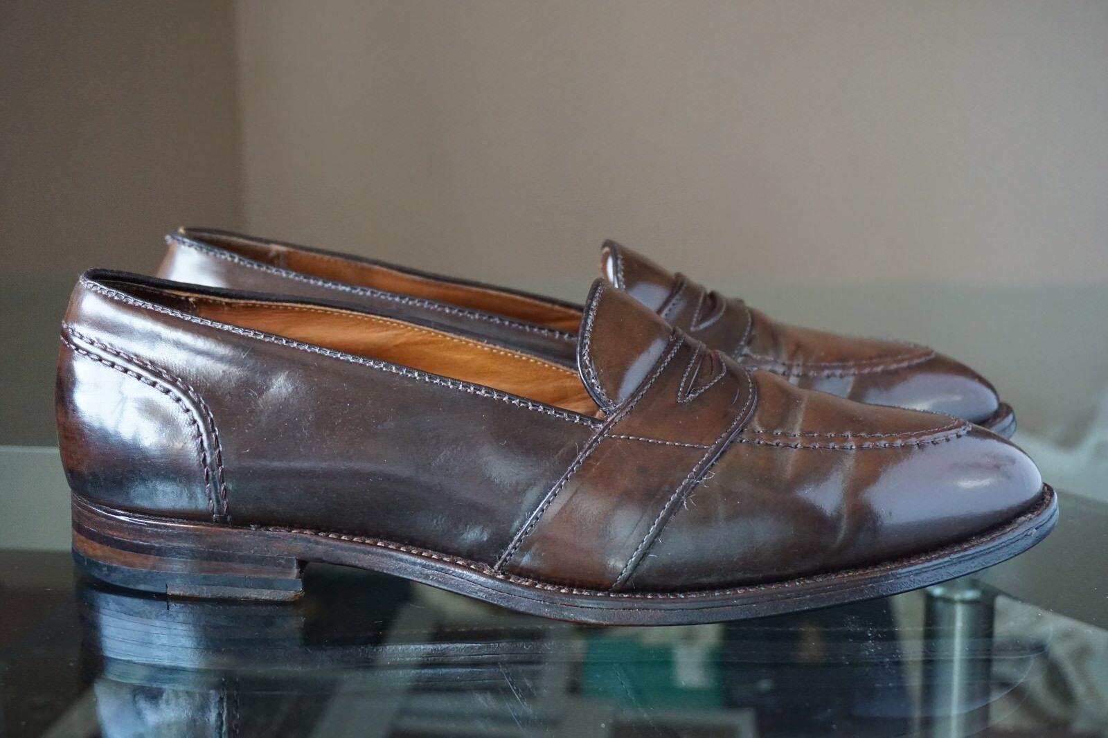 ALDEN 12 C CIGAR SHELL CORDOVAN BROWN PENNY LOAFER FULL STRAP HAND SEWN Scarpe classiche da uomo