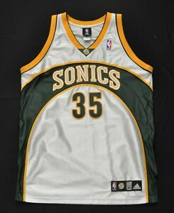 reputable site 19990 9355d Details about KEVIN DURANT SEATTLE SONICS ADIDAS AUTHENTIC JERSEY WHITE  SEWN MEN 44 LARGE