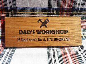 Mini Wooden Door Plaque - Dad's Workshop - Father's Day Gift