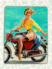 Retro pin up style Gil Elvgren girl motorbike tin metal sign wall plaque gift
