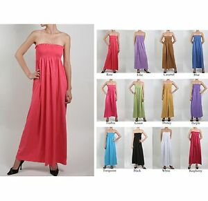 Maxi dress smocked tube top strapless long dress elastic stretch ...