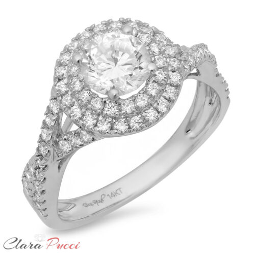 Details about  /1.5ct Round Cut Halo Wedding Bridal Engagement Anniversary Ring 14k White Gold