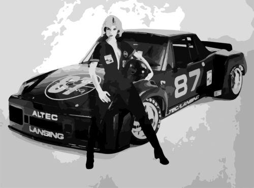 """PORSCHE 914 6 GT ALTEC LANSING RACE CAR AD ART POSTER PRINT 18"""" x 24/"""" Giclee"""