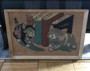 Vintage-Mid-Century-MCM-Gravel-Pebble-Art-On-Burlap-PussyCats-Cat