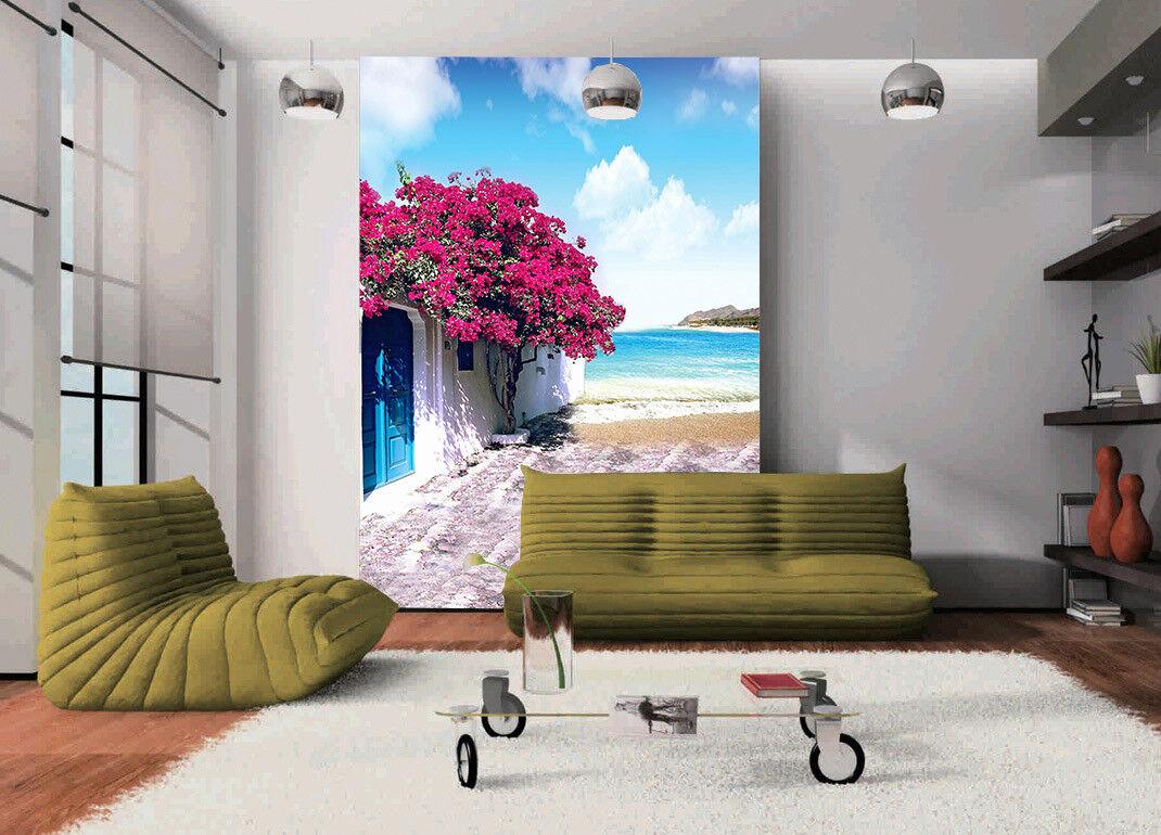 3D Küsten Blaumen Haus 9 Tapete Wandgemälde Tapete Tapeten Bild Familie DE Summer