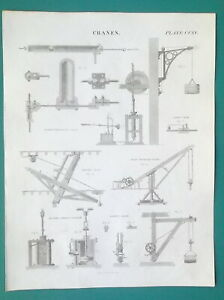 CRANES-Various-Types-Hydrostatic-Moving-Gilpin-039-s-etc-1814-Antique-Print