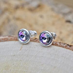 Boucles d/'oreilles clous,pendantes cristal violet 6mm,argent  925°°°garanti