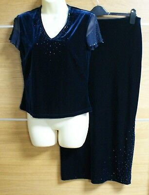 100% Vero Anne Brooks Petite Debenhams Navy Velluto 2 Pezzi Party Dress Size 12-mostra Il Titolo Originale