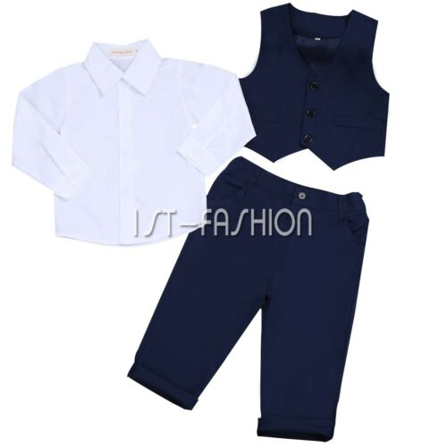 Baby Kinder Jungen Gentleman Weste Hose Tie Set Outfits Kleidung Bluse Shirt