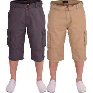 cotton shorts mens 3 quarter  cargo shorts 5 pockets with buttons size 32-46