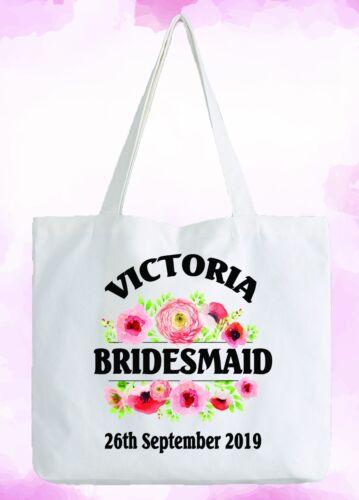 Bolso Blanco Personalizado De Dama De Honor Boda Regalo añadir nombre y fecha de matrimonio