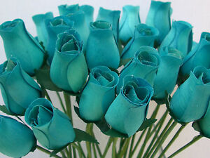 100 WHOLESALE TURQUOISE DUCK EGG BLUE WOODEN ROSES ARTIFICIAL ...