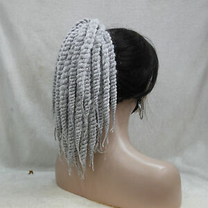 Afro Kinky Curly Weave Ponytail Hairstyles Gray Clip On Extensions