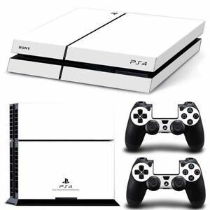 White-Game-Decal-Cover-Skin-Sticker-for-PS4-PlayStation-Console-2-Controller-USA