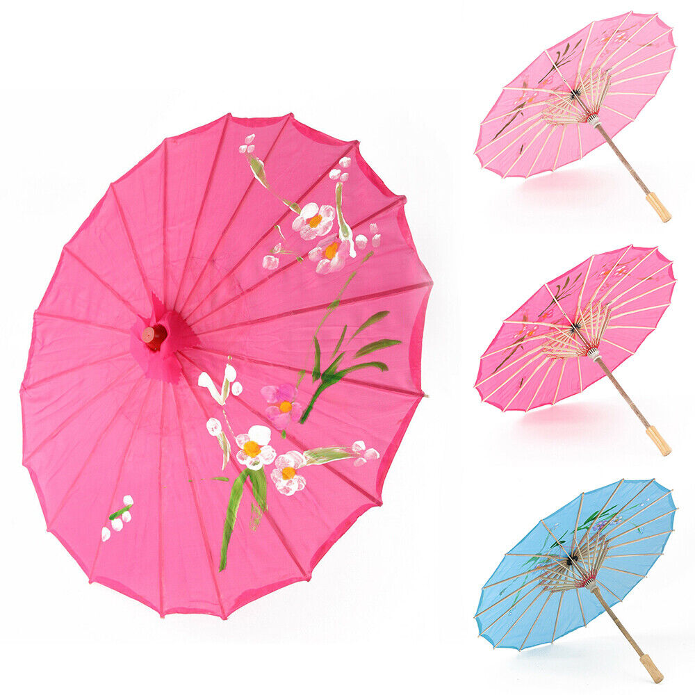 Chinese Japanese Umbrella Art Deco Painted Parasol For Wedding Dance Party #TF