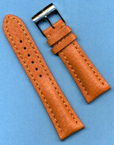 RAISED LOGO BREITLING BUCKLE & 20mm GENUINE WILD BOAR STRAP BAND LEATHER LINED