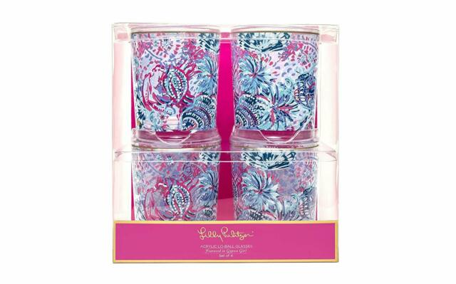 Lilly Pulitzer Lo Ball Glass - Gypsea Girl Set of 4 Glasses