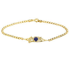 14Kt Yellow Gold Plated Blue Sapphire & Diamond Heart Mom Bracelet