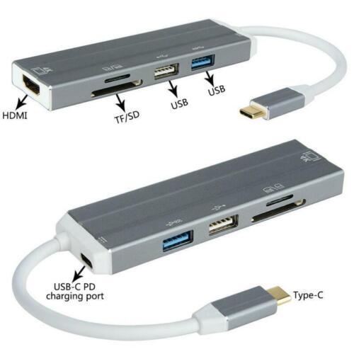 Practical Type-C USB 3.0 To 4K USB 3.0 SD//TF Card Reader USB C Hub Adapter New