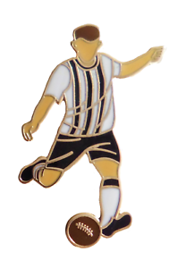 Black & White Stripes Football Player Gold Plated Pin Badge