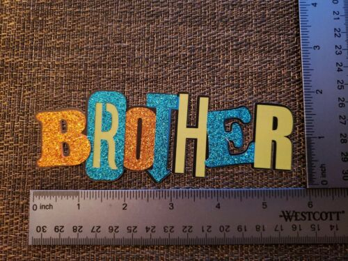 Brother family sibling printed die cut with layer of glitter accents