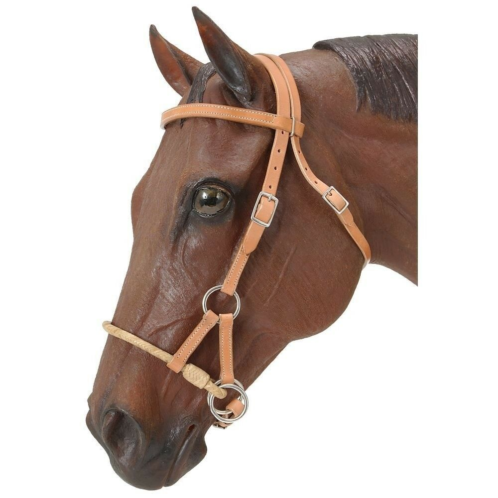 Tough-1 Royal King Rawhide Single Side Pull Bitless Headstall Light Oil