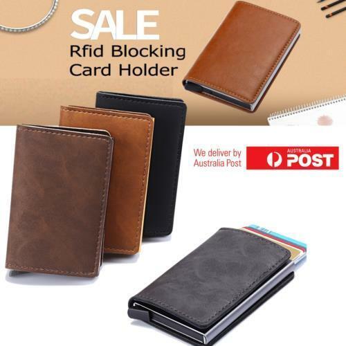 RFID Blocking Leather Credit Card Holder Money cash Wallet Mens Clip Purse