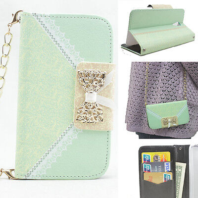 3D bling bow leather wallet flip diamond case cover SAMSUNG huawei nokia LG HTC