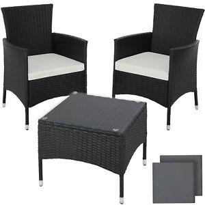 Detalles De Acero Ratán Sintético Muebles Set Conjunto Jardín Terraza Comedor Mesa Negro
